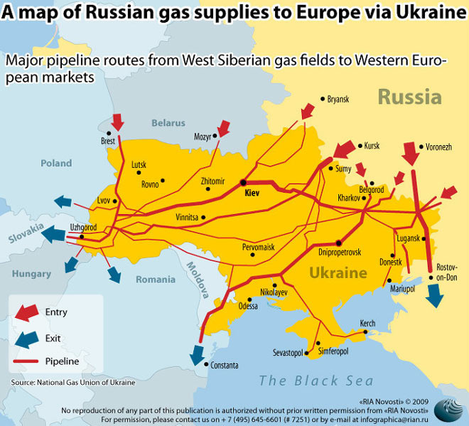 Οι ενεργειακοί αγωγοί από τη Ρωσία προς την ΕΕ, οι οποίοι διέρχονται από την Ουκρανία