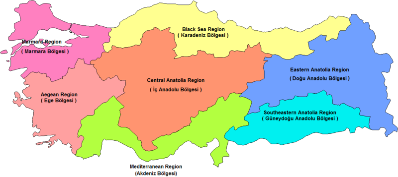 Χάρτης των επτά περιοχών (διαμερισμάτων) της Τουρκίας (1) *Πατήστε στην εικόνα για μεγέθυνση.