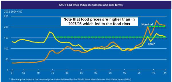 Δείκτης τιμών των τροφίμων, με τιμές πραγματικές (χωρίς των πληθωρισμό, κίτρινο) και μη