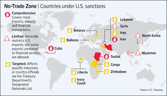 Οι χώρες στις οποίες οι ΗΠΑ έχουν επιβάλλει κυρώσεις