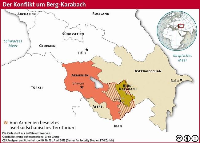 Η διαμάχη για το βουνό Καραμπάχ μεταξύ του Αζερμπαϊτζάν και της δημοκρατίας Ναγκόρνο-Καραμπάχ.