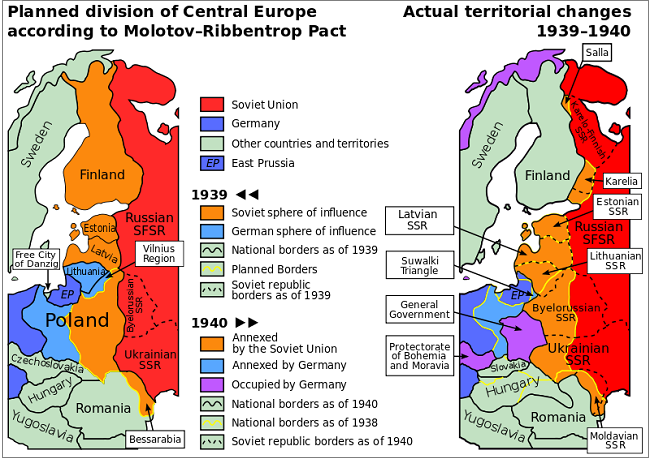 Χάρτης – οι περιοχές διαπραγμάτευσης του «Molotov–Ribbentrop Pact».