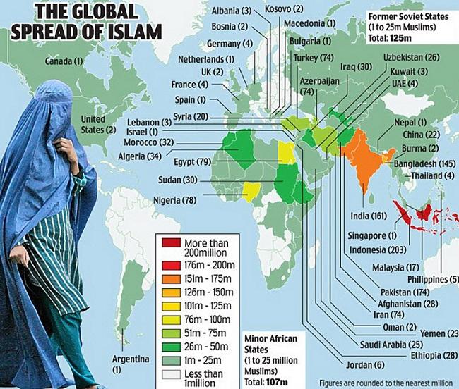 Χάρτης – η εξάπλωση του Ισλάμ παγκοσμίως (σε παρένθεση ο αριθμός των ισλαμιστών κατοίκων σε εκατομμύρια).